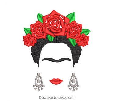 Diseño bordado frida kahlo con rosas