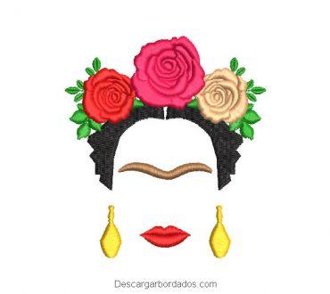 Diseño bordado frida kahlo con rosas de colores