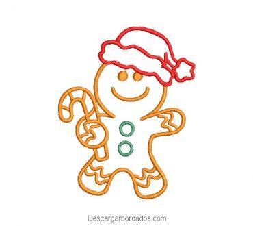 Diseño bordado galleta de navidad delineado