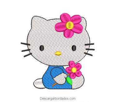 Diseño bordado hello kitty bebe con flores