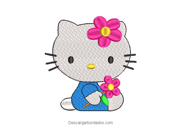 Diseño bordado hello kitty bebe con flores