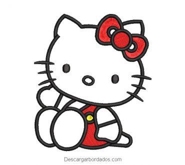 Diseño bordado hello kitty con vestido rojo
