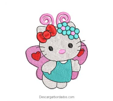 Diseño bordado hello kitty mariposa para bordar
