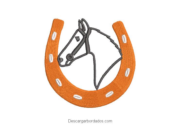 Diseño bordado herradura con fondo de caballo
