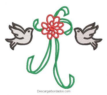 Diseño bordado lazos de flores con paloma