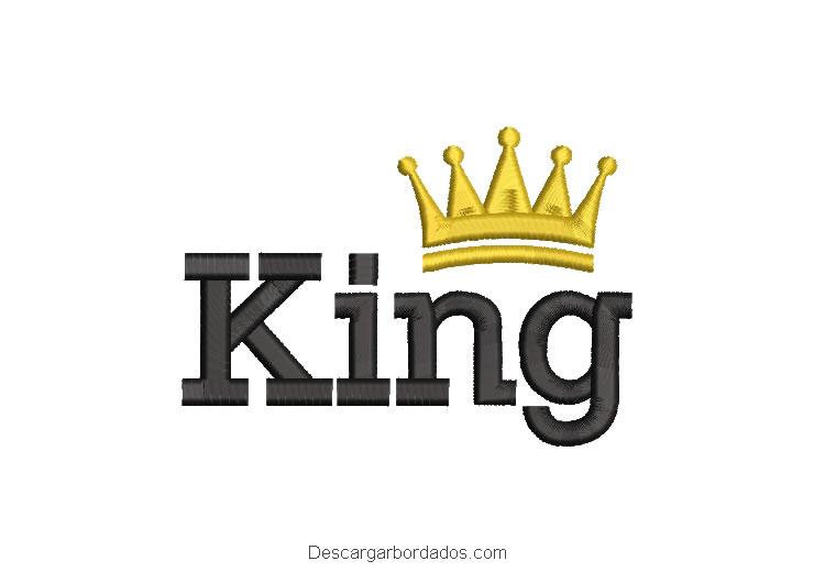 Diseño bordado letra King con Corona