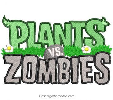Diseño bordado letra de Plants vs Zombies