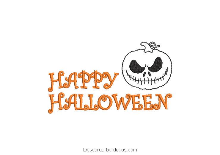 Diseño bordado letra de happy halloween