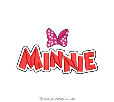 Diseño bordado letra de minnie mouse