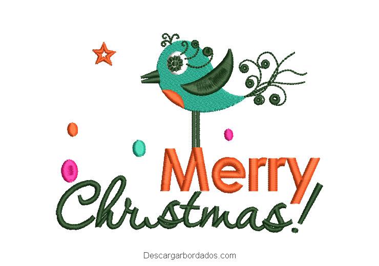 Diseño bordado letra merry christmas con decoración