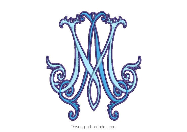 Diseño bordado letra monograma M