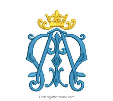 Diseño bordado letra ornamental M con corona
