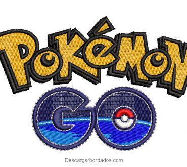 Diseño bordado letra y logo de pokemon Go