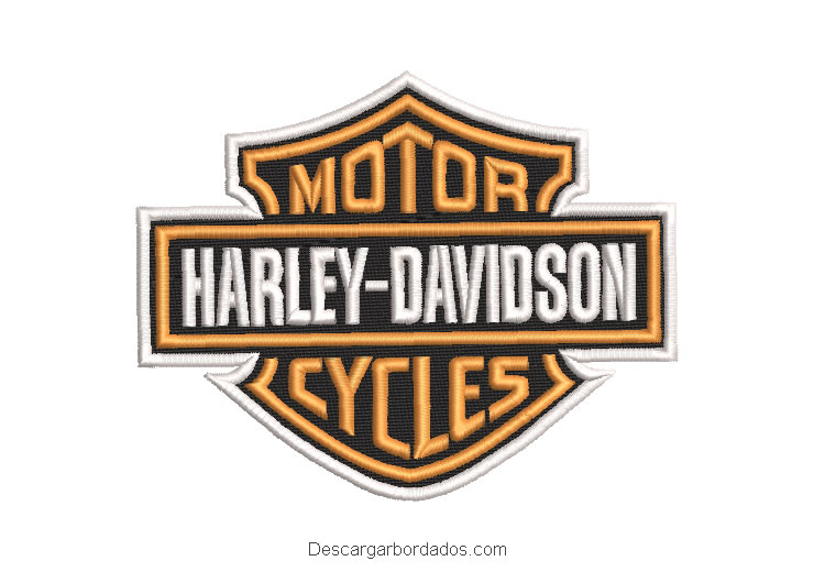 Diseño bordado logo motor harley davidson