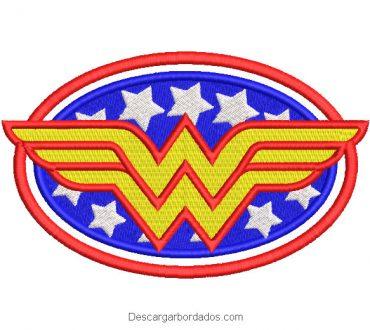 Diseño bordado logo mujer maravilla con estrellas