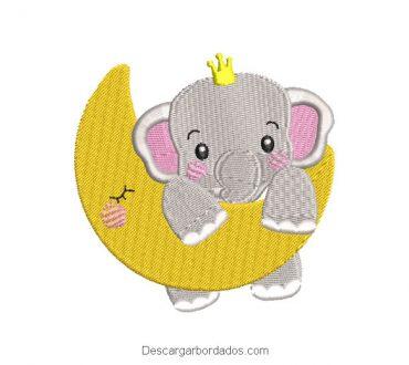 Diseño bordado luna y elefante bebé