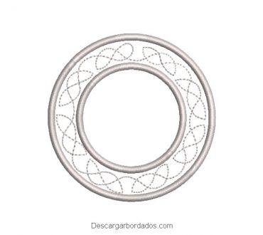Diseño bordado marco de circulo