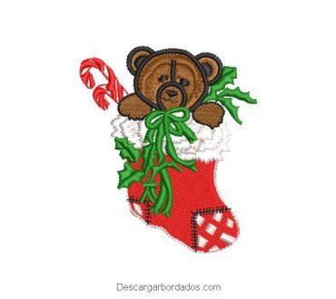 Diseño bordado medias de navidad con oso