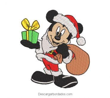Diseño bordado mickey con regalo de Navidad