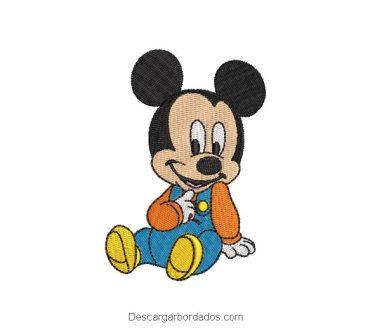 Diseño bordado mickey mouse bebe sentado