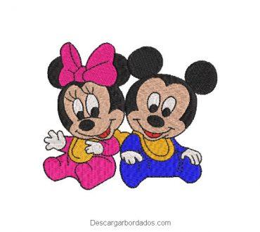 Diseño bordado mickey mouse y minnie bebes