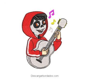 Diseño bordado miguel con guitarra coco