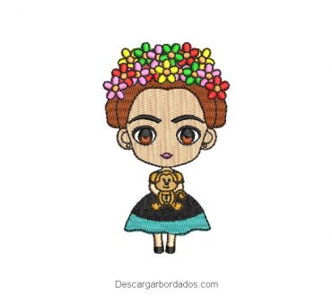 Diseño bordado mini frida kahlo