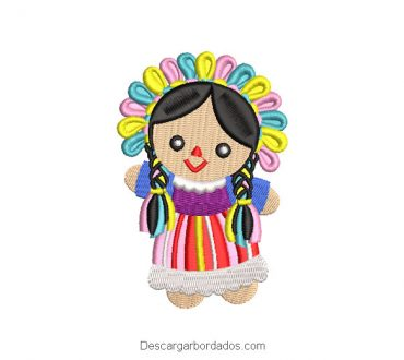 Diseño bordado muñeca mexicana maria lele