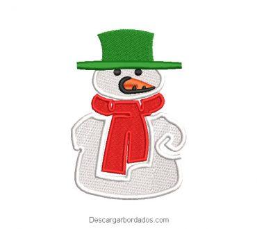 Diseño bordado muñeco de nieve con chalina