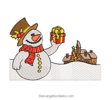 Diseño bordado muñeco de nieve con regalo