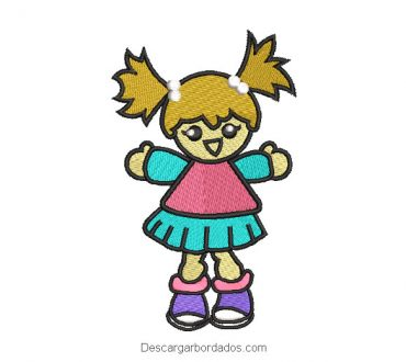 Diseño bordado muñeco de niña para bordado