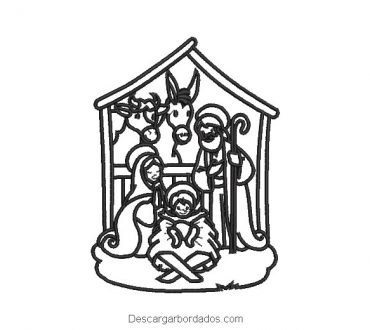 Diseño bordado nacimiento de jesus para bordar