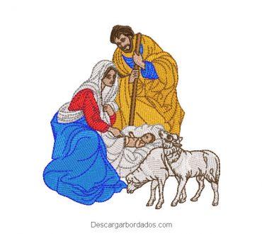Diseño bordado nacimiento de niño jesús