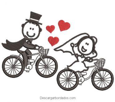 Diseño bordado novia y novio en bicicleta