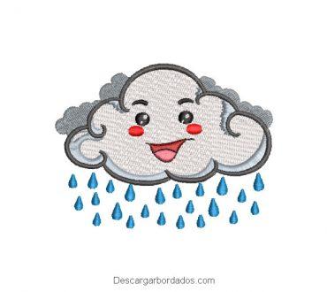 Diseño bordado nube con gotas de lluvia