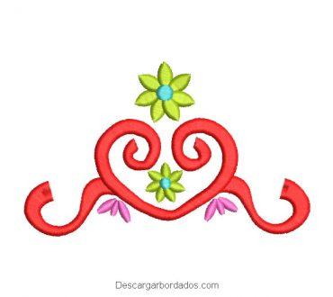 Diseño bordado ornamentos florales