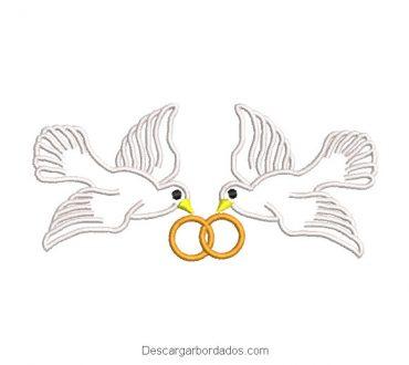 Diseño bordado palomas con anillos de boda