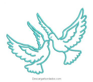 Diseño bordado palomas de amor
