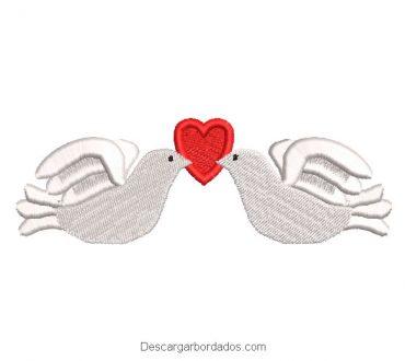 Diseño bordado palomas de amor con corazon