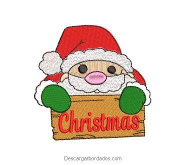 Diseño bordado papa noel con letra Christmas