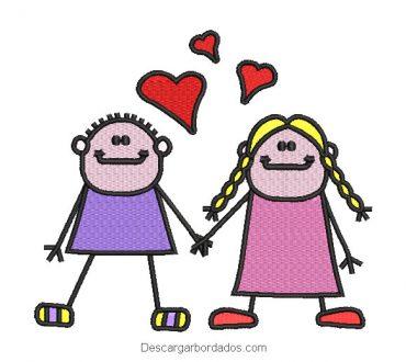 Diseño bordado pareja de abuelitos con corazones