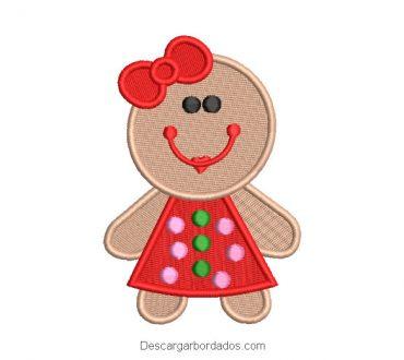 Diseño bordado personaje galleta de navidad