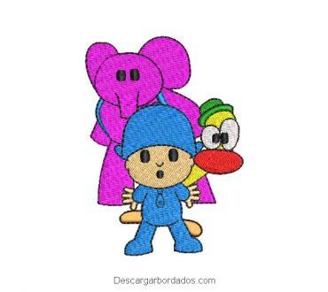 Diseño bordado pocoyo y sus amigos
