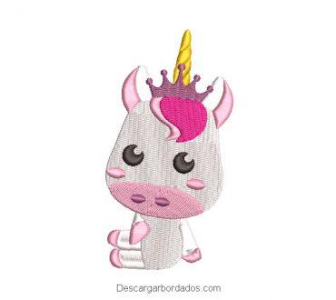 Diseno bordado pony unicornio bebe