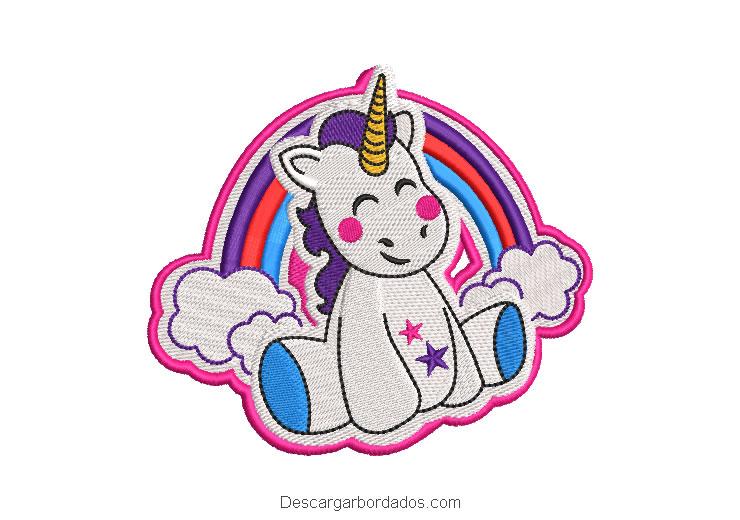 Diseño bordado pony unicornio con arcoiris