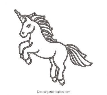 Diseño bordado pony unicornio delineado