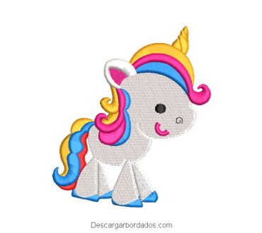 Diseño bordado pony unicornio multicolor