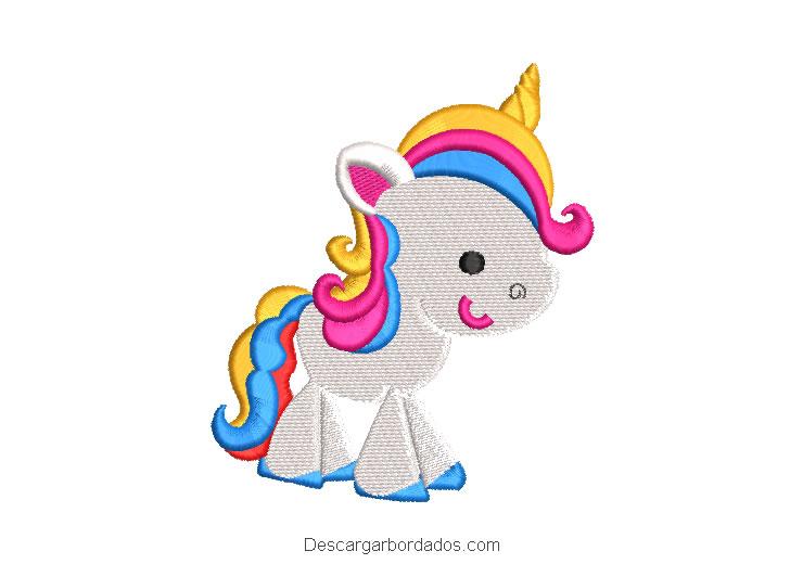 Diseño bordado pony unicornio multicolor