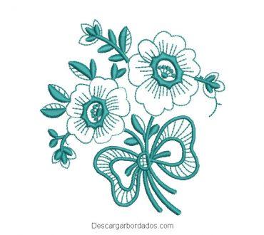 Diseño bordado ramo de flores con hojas