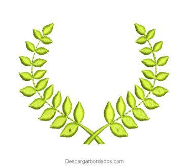 Diseño bordado ramo de hojas verdes